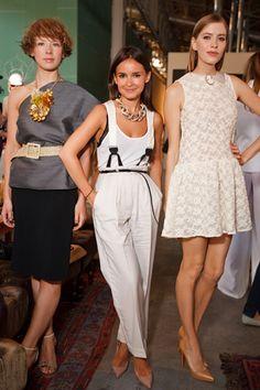 Miroslava Duma.....love anything suspenders! Especially white on white! Very Davey havok