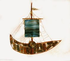 AAVAN MEREN TUOLLA PUOLEN 2013, mixed media Sailing Ships, Mixed Media, Waves, Boat, Dinghy, Boats, Ocean Waves, Sailboat, Mixed Media Art