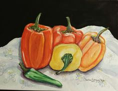 """""""Peppers on the Table"""" Watercolor on 140lb cold press 10/16/2015 by C.Rodriguez Allen"""