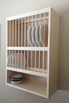Wall Mounted Plate Rack With Shelf