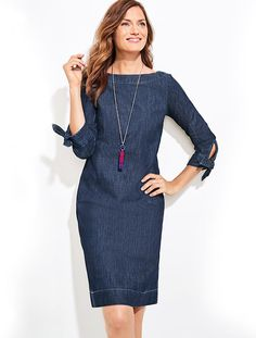 Tie-Sleeve Sheath Dress-Denim | Talbots