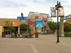 A view of the outdoor butterfly exhibit Banner Art Studio created for the Indianapolis Zoo to guide patrons into the Zoo's all-new butterfly exhibit, which also features Banner Art twirling mobiles.