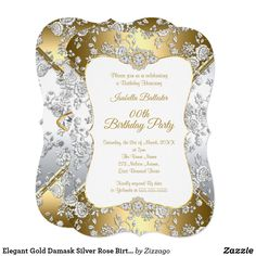 Shop Elegant Gold Damask Silver Rose Birthday Party Invitation created by Zizzago. 40th Birthday Invitations, Bachelorette Party Invitations, Quinceanera Invitations, Golden Birthday, Silver Roses, Rose Gold, Birthday Woman, Party Stores, Xmas Cards