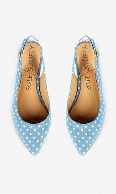 Darling light blue slingback flat with white polka dots