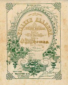 *The Graphics Fairy LLC*: Vintage Ephemera Clip Art - Amazing Sheet Music Frame