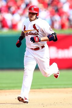 Yadier Molina rounds the bases after hitting a solo home run in the fifth inning against the Pittsburgh Pirates during game 2 of the NLDS. Cards lost 7-1.  Series tied 1-1.  10-04-13