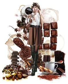 """""""Chocolate and Coffee Lover"""" by chaerin-cl ❤ liked on Polyvore featuring art, chocolate, 2014, coffee and delicious"""