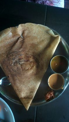 Authentic masala dosa, sambhar and chutney