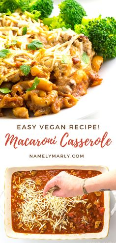 Remember the good old days while enjoying this easy Vegan Macaroni Casserole! It's made with whole wheat macaroni, marinara sauce, and lots of vegan mozzarella cheese. Vegan, cheesy goodness in every bite!   #namelymarly #macaronicasserole #vegan