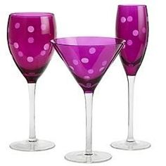 purple stemware with dots: