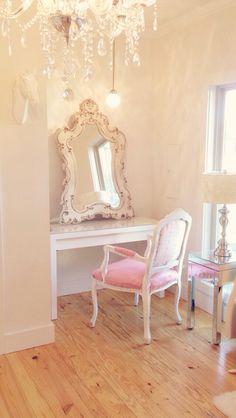 Pale pink and white bedroom vanity