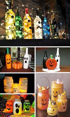 Garrafas na decoração de #halloween - Dactylo