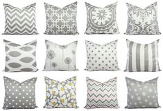 Grey Pillow Covers Grey and White Throw by CastawayCoveDecor, $10.00