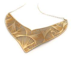 Maasai Necklace Fan Gold Plate, $82, Imprint DNO