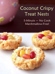 Coconut Crispy Treat Nests - No Cook, Naturally Vegan, Marshmallow-Free! Coconut Recipes, Dairy Free Recipes, Vegan Recipes, Gluten Free, Vegan Sweets, Vegan Desserts, Dessert Recipes, Easter Recipes, Holiday Recipes
