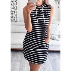 Striped Hooded Mini Dress Lookbook Store ($19) ❤ liked on Polyvore featuring dresses, blue mini dress, short dresses, blue dress, short blue dresses and sporty dresses