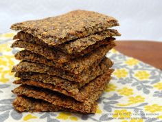 [ Chia Recipe: Flax Chia Crackers ] Crispy Crunchy and Healthy. With Flaxseed meal, Chia Seeds, Flax Seeds, Garlic Powder, Raw Coconut Aminos, and Celtic Sea Salt. ~ from HealthyLivingHowTo.com