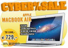 Apple MacBook Air 11,6 Zoll 1,6 GHz Intel Core i5 BTO 64 GB Flash 4 GB RAM: www.cyberport.de/cybersale