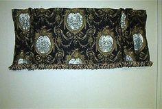 , Traditional Valance Waverly Vignette Toile Fabric Black; Custom
