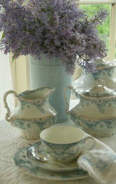 beautiful blue flowers on white china tea set. Vintage Tea, Vintage Dishes, Vintage China, Antique China, Antique Dishes, Vintage Floral, Tea Cup Saucer, Tea Cups, Blue And White China