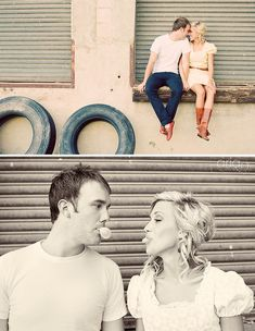 love the urban vibe mixed with the simple/romantic attire.  and playful couple.