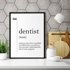 Orthodontist Definition Dental Office Decor Orthodontist Dentist Office Decor Gift for Dentist Wall Art Stomatology Gifts Professions Poster Dental Office Decor, Dental Office Design, Office Designs, Office Art, Nursery Prints, Nursery Wall Art, Kitchen Definition, Minimalist Quotes, Cards