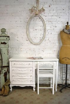 Items similar to Painted Cottage Chic Shabby French Desk and Chair on Etsy French Desk, Painted Cottage, Interior Design Tips, Quality Time, Cottage Chic, Shabby Chic, Vanity, Chair, Desks