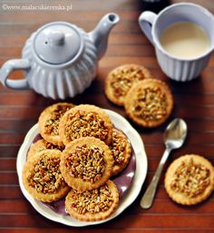 ciastka kruche ze slonecznikiem - toffee cookies with sunflower seeds Toffee Cookies, Sugar Pie, Sunflower Seeds, Sweet Treats, Muffin, Breakfast, Cake, Food, Drink