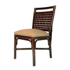 Essex Side Chair.  Rattan & Woven Leather, from Walters Wicker Interior Collection.