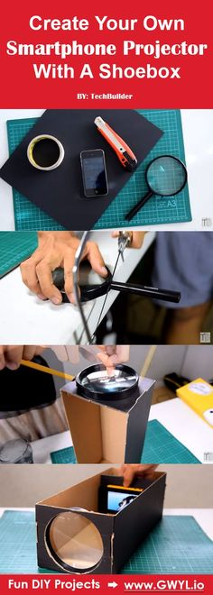 This DIY project surely is a fun and unique way to share your smartphone's screen to your friends or family to show-off holiday snapshots or the hottest viral video on your living room wall.   Create Your Own Smartphone Projector With A Shoebox   Video Tutorial Here---> http://gwyl.io/create-smartphone-projector-shoebox/