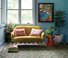 We love the lush colors of this sunny reading nook! Finials For Curtain Rods, Curtain Rod Hardware, Sheer Curtain Panels, Bohemian Living, Floral Wall Art, Pillow Sale, Rug Sale, Art Furniture, Reading Nook