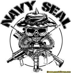 Navy Seal Skull on Mens Short Sleeve T-Shirt Military Ranks, Military Insignia, Military Art, Special Ops, Special Forces, Navy Seal Tattoos, Navy Seal Shirts, Airsoft, Seal Team 6