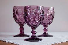 # 3 ImperialGlass Provincial Amethyst WaterGoblets, Set of 3 Purple Thumbprint Wine Champagne Dessert Glasses, Mid Century Stemware