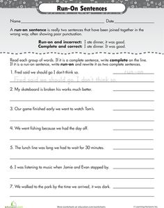 Printables Run On Sentence Worksheet work on writing run sentences and worksheets sentences
