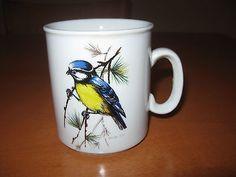 Vintage 70's Israel Naaman Porcelain Cup Mug w/ Textured Blue Tit Bird Print VGC