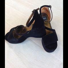 Black velvet wedges! Gorgeous black velvet wedges by Donna Karan! Absolutely stunning with a 4 inch wedge heel. Donna Karan Shoes Wedges