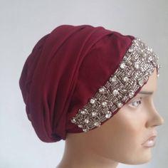 Burgundy headcovering  - head scarf -  tichel - burgundy hijab scarf - muslim scarves -  ready-to-wear