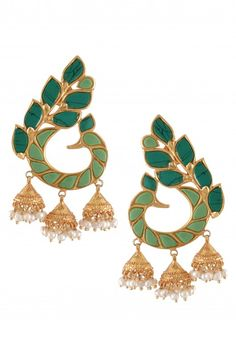 Silver Gold Plated Turquoise Peacock Earrings Pinned by Sujayita