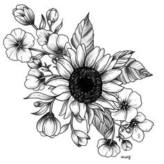 Bouquet of Flowers with Sunflower / Fall floral lineart Framed Art Print by miaubetty - Vector Black - Floral Tattoo Design, Flower Tattoo Designs, Black Tattoos, Small Tattoos, Sunflower Tattoos, Sunflower Drawing, Sunflower Tattoo Design, Henne Tattoo, Watercolor Flower