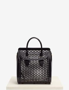 ALEXANDER MCQUEEN Black Heroine Patent Honeycomb Leather Tote