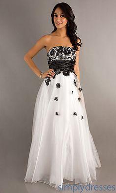 Floor Length Strapless Lace Embellished Dress at PromGirl.com