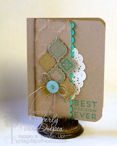Stamps: Mosaic Madness, Best Decision Ever  Ink: Coastal Cabana, Summer Starfruit, Soft Suede Cardstock: Crumb Cake   Accessories:  Linen Thread, Paper Doily, Subtles Buttons , Mosaic Punch , Scallop Edge Punch, Modern Mosiac Embossing Folder, Corner Rounder punch