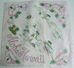 Hawaii state map + pink hibiscus flowers [handkerchief / scarf]