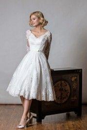 Rita Mae Tea Length Wedding Dress 1048
