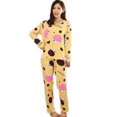 New 2017 Autumn Women Lovely Cotton Pajamas Sets Warm Ladies Long Sleeve Sleepwear Home Clothing Feminino Girls Nightgown M L XL