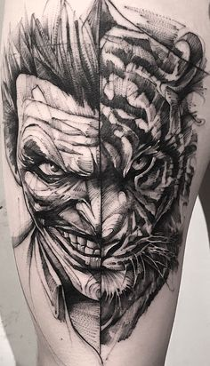 The Joker Tattoo. Bear Tattoos, Skull Tattoos, Body Art Tattoos, Hand Tattoos, Cool Tattoos, Sketch Style Tattoos, Tattoo Sketches, Tattoo Drawings, 4 Tattoo
