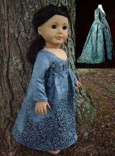 1790's Blue-Grey Jacquard Regency Dress Replica for American Girl Dolls - by Morgan May @ Stardust Dolls - http://www.stardustdolls.com