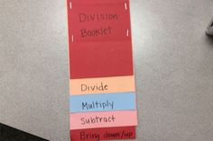 Here are the Division Flip Books my students created to help them with division. When teaching division and long division with my students,. Math Charts, Math Anchor Charts, Interactive Math Journals, Math Notebooks, Teaching Division, Teaching Math, Fun Math, Math Activities, Fourth Grade Math