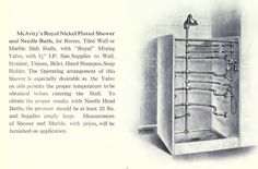 Royal stall shower from McAvity & Sons 1920 bath fixture catalog.