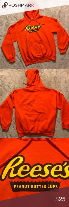 Reese's Peanut Butter Cup Hoodie, Medium This is one of those hoodies you didn't know you needed in your life until you found it. Bright orange with the Reese's Peanut Butter Cup print on front, fleece inside. Share your love with the world! Pre-owned.   Smoke-free home. Offers welcome. Tops Sweatshirts & Hoodies